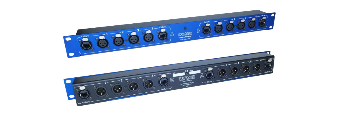 blue Stagebox rackmount double, XLR over Ethernet/Cat, Link output