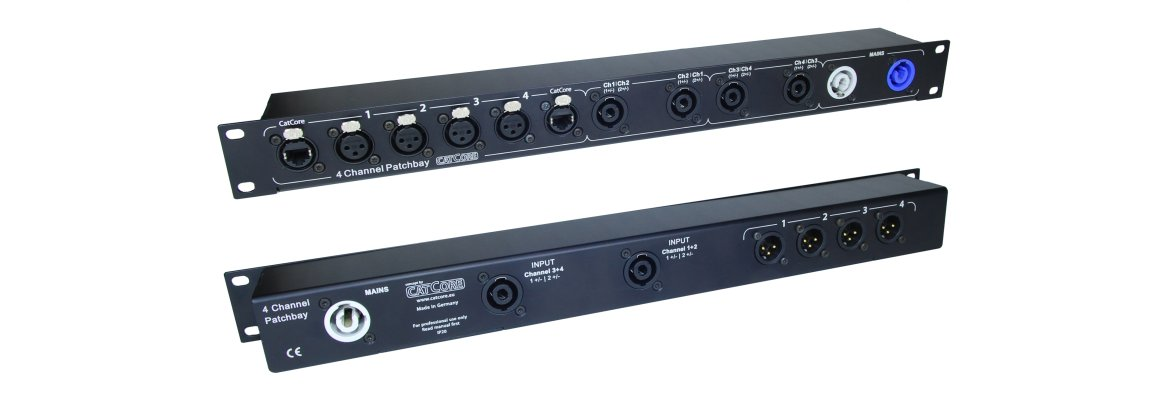 quad channel patchbay for audio amps, including XLR, Speakon and Powercon
