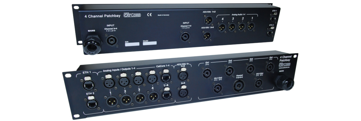 Speaker panel/patchbay for four channel audio amps with XLR, CatCore and Speakon 4 and 8pin, network, e.g. for Poweroft X4