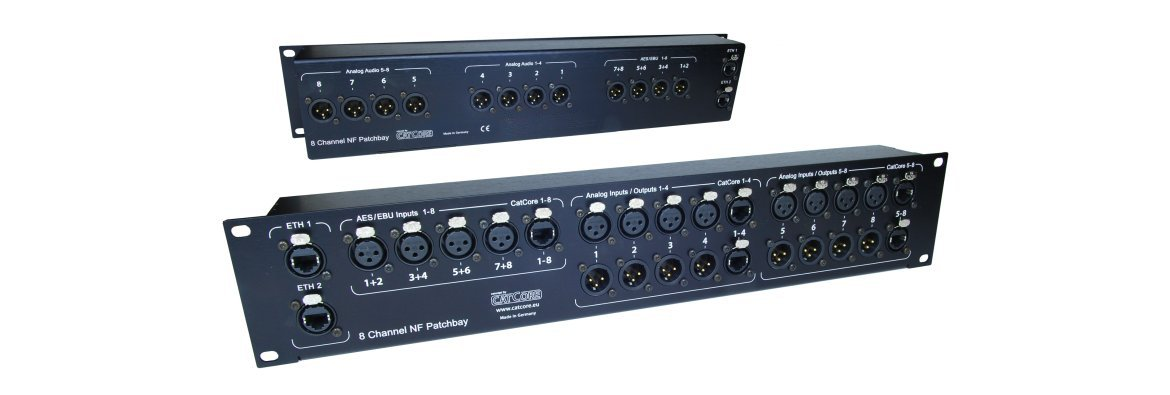 Input Patchbay 8-channel for ampracks with XLR, CatCore, Digital, Ethercon RJ45, e.g. for Powersoft X8 / outline XO8