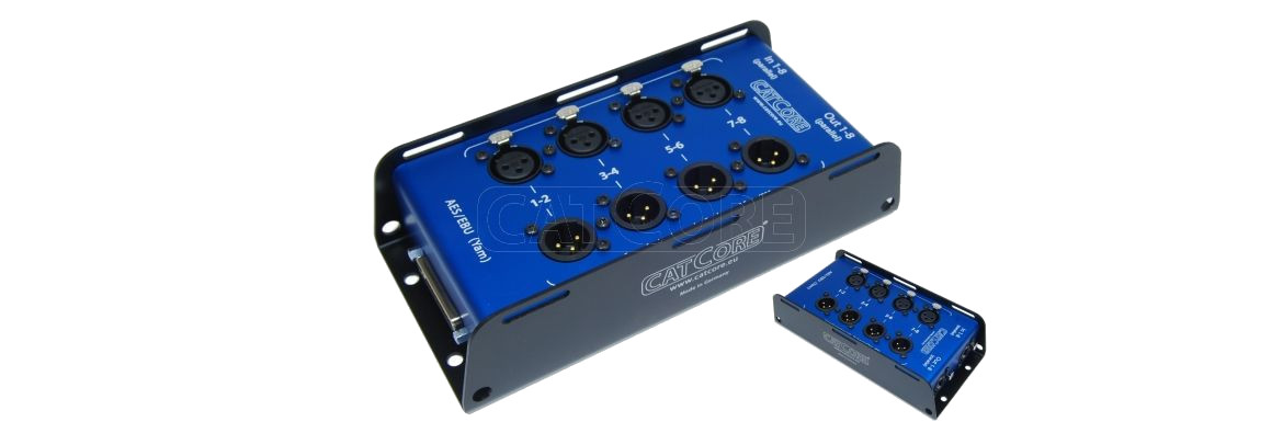 CatCore Stagebox double row with SubD25 (Yamaha pinout) to 8x XLR and 2x CatCore