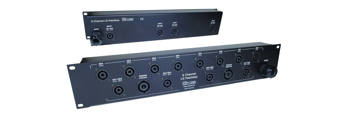 Speaker panel for 8-ch ampracks, featuring Spakon 4- and 8pin, e.g. for Powersoft X8/Outline XO8